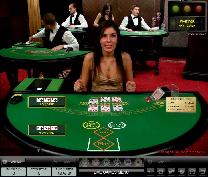 William Hill Live 3 Card Poker generic table