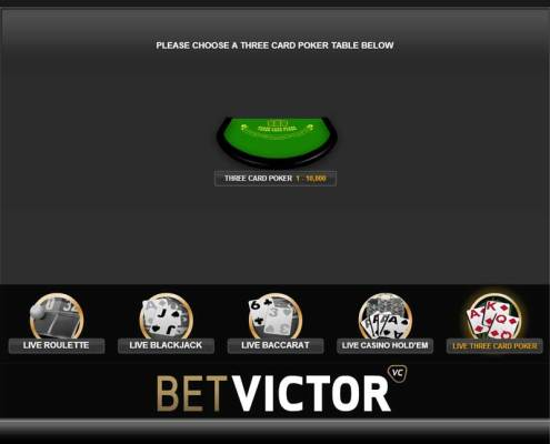 BetVictor Casino Live 3 Card Poker Lobby